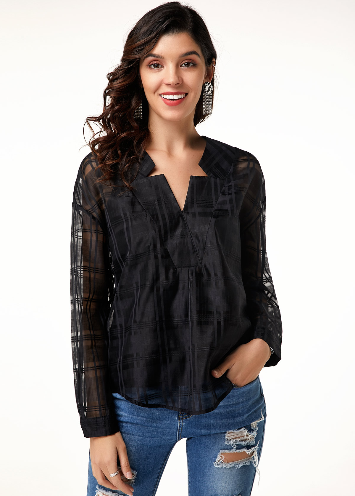 MODLILY DESIGNLong Sleeve Curved Hem Black Blouse