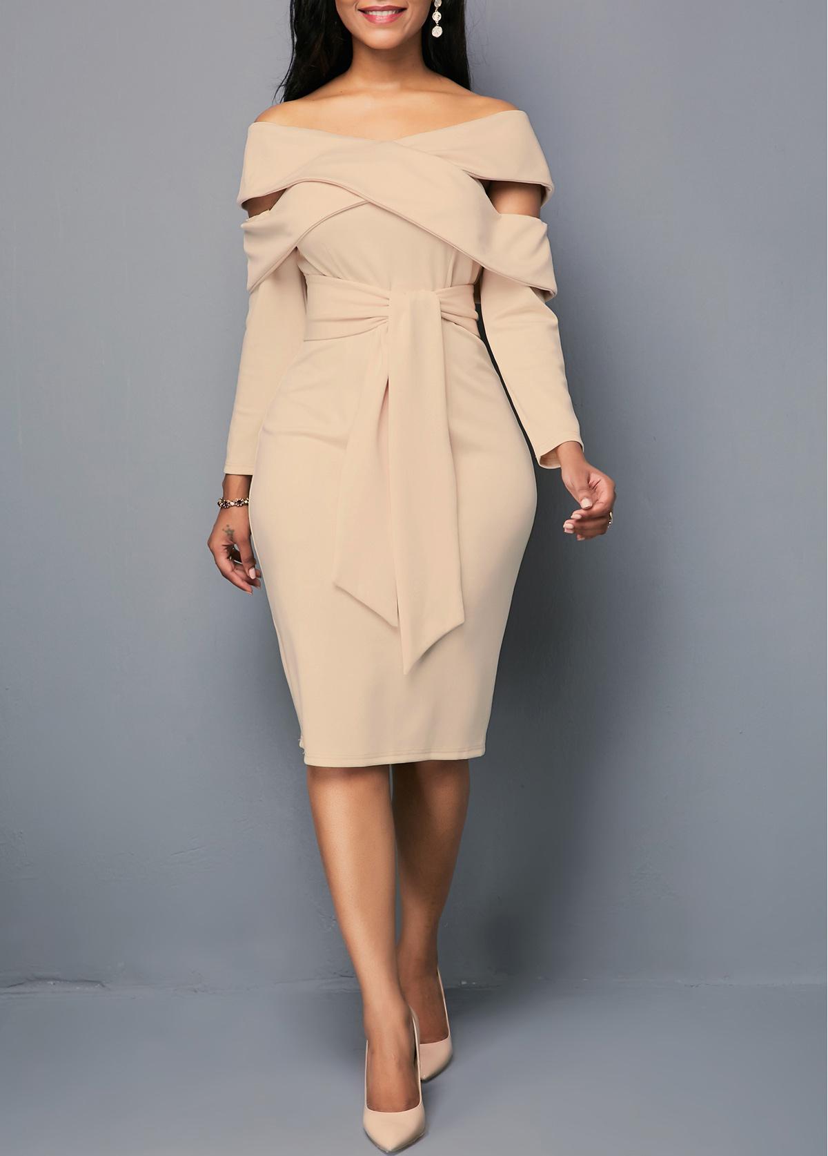 Zipper Back Light Khaki Belted Sheath Dress