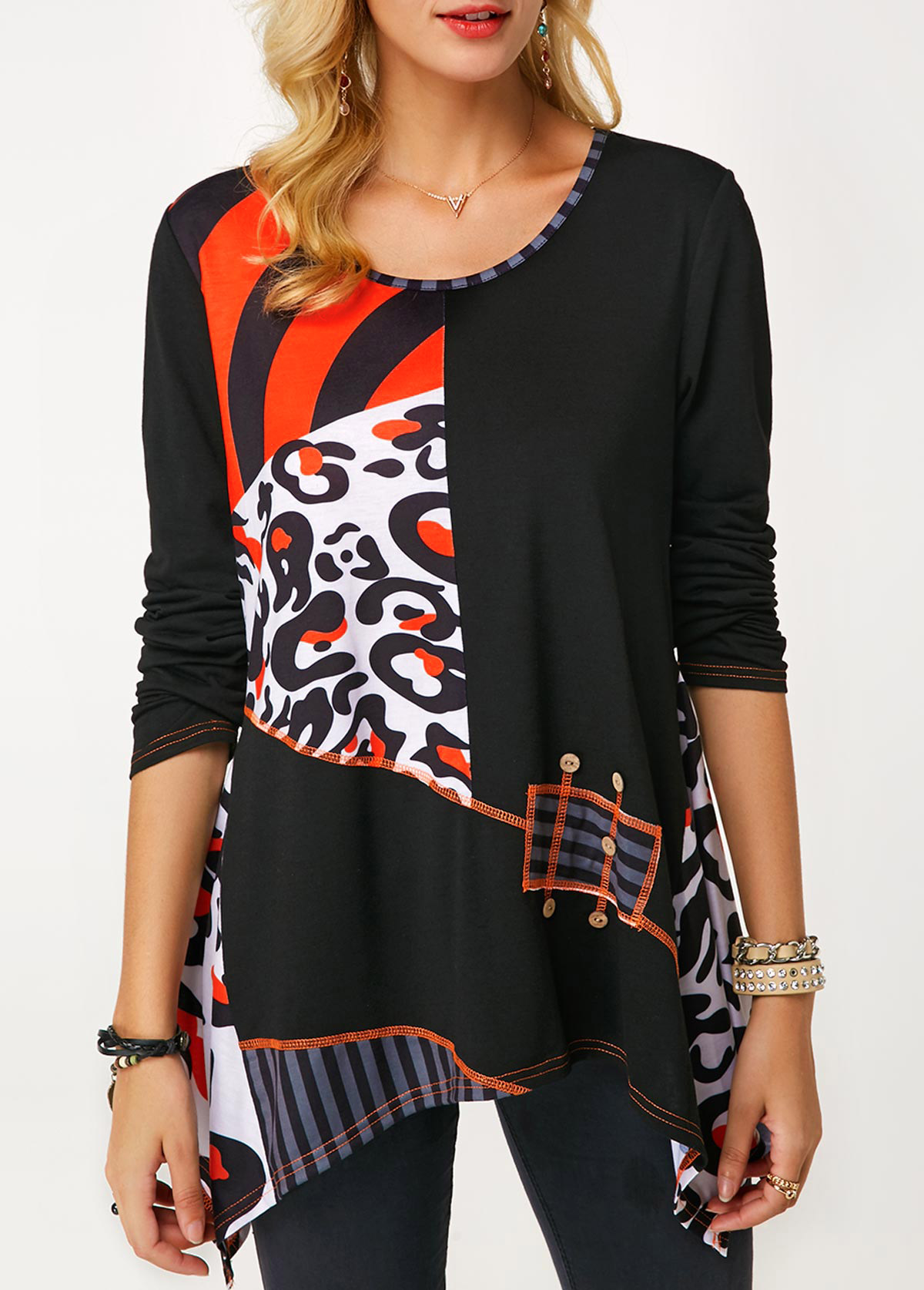 Printed Asymmetric Hem Round Neck Blouse