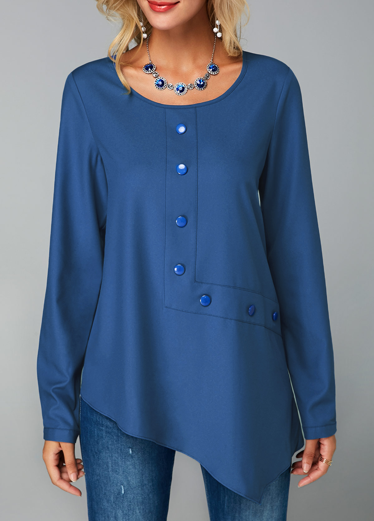 Keyhole Back Royal Blue Button Decorated Blouse