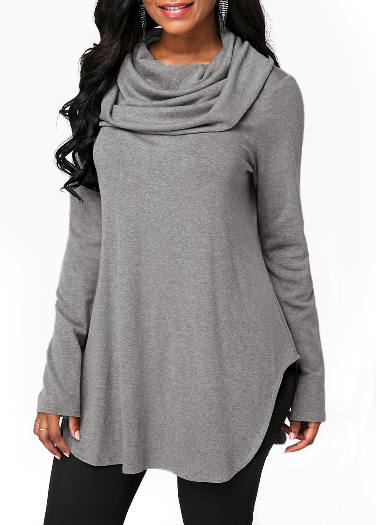 Grey Long Sleeve Cowl Neck Sweatshirt