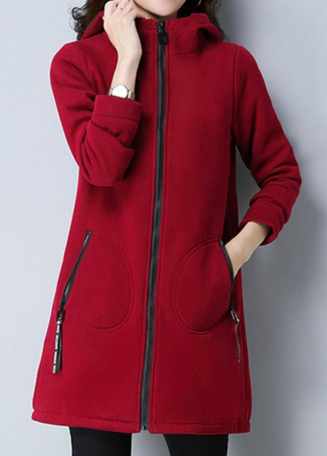 Zipper Closure Side Pocket Wine Red Coat