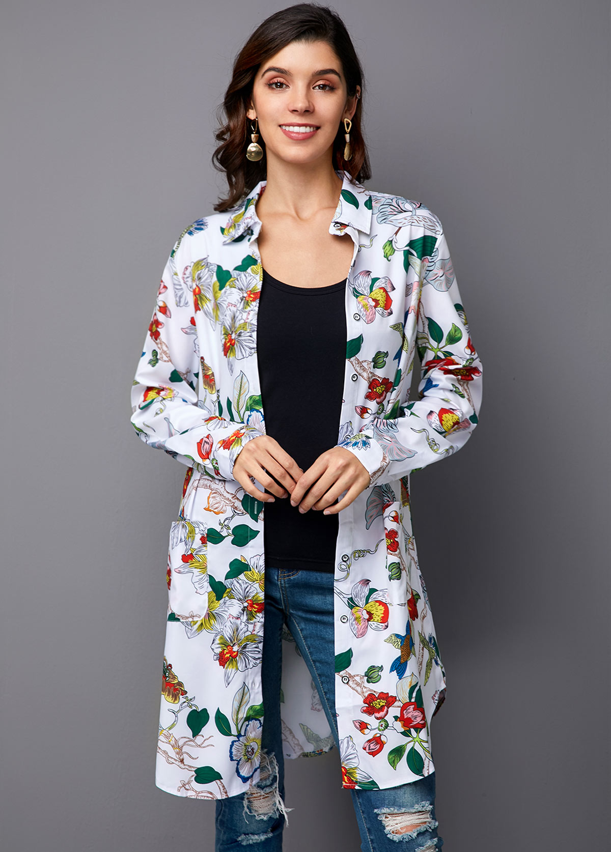 Printed Button Up Turndown Collar Blouse