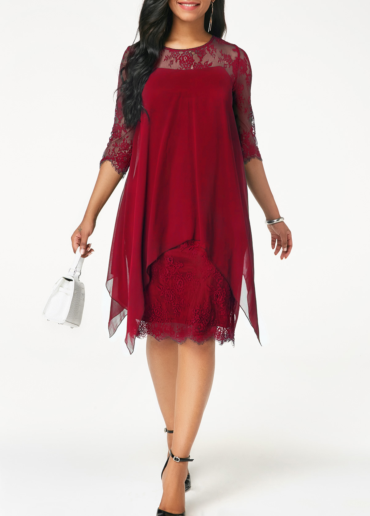 Round Neck Chiffon Overlay Lace Dress