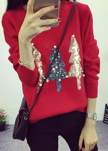 Faux Pearl Embellished Christmas Tree Pattern Red Sweater
