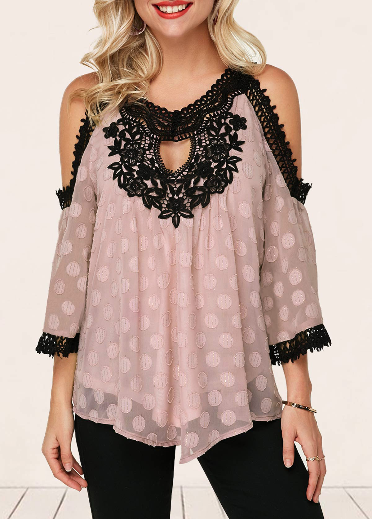Cold Shoulder Cutout Front Crochet Detail Blouse