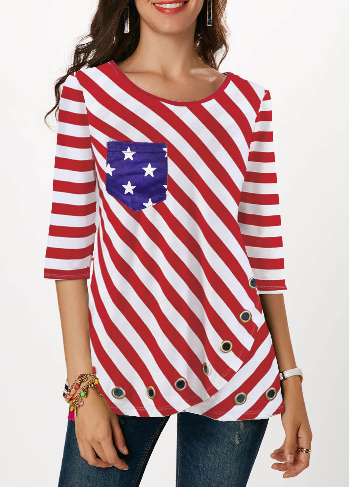 American Flag Print Three Quarter Sleeve Red T Shirt