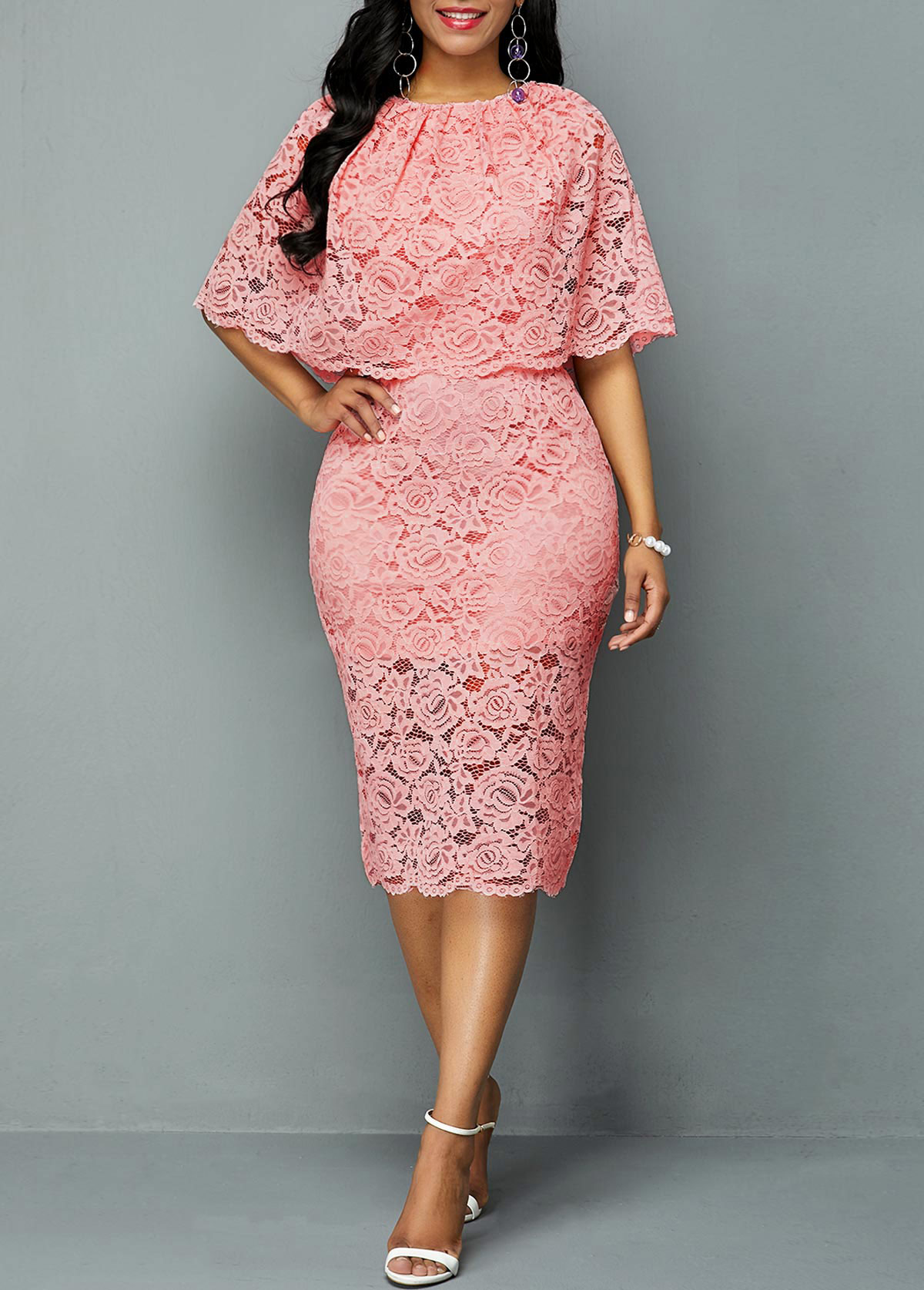 Overlay Embellished Half Sleeve Lace Dress
