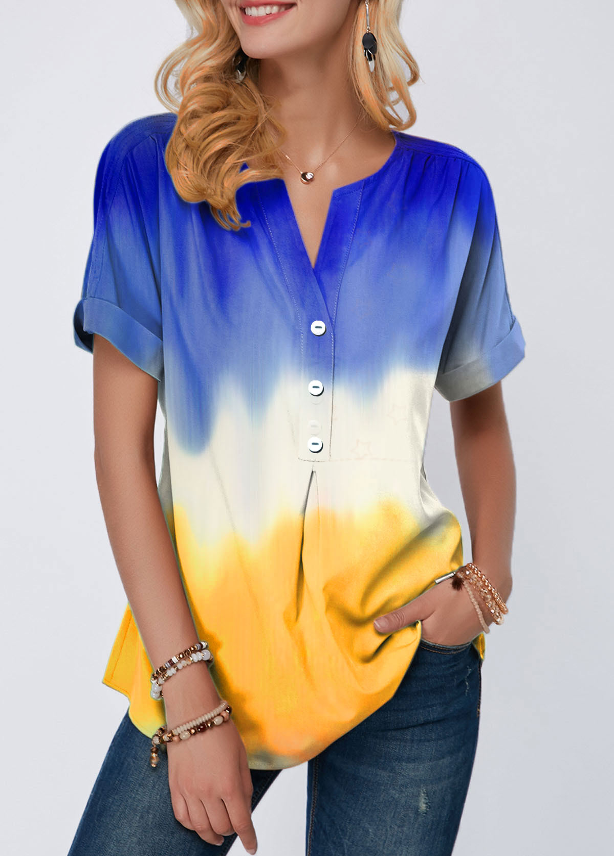 Split Neck Button Detail Color Block T Shirt