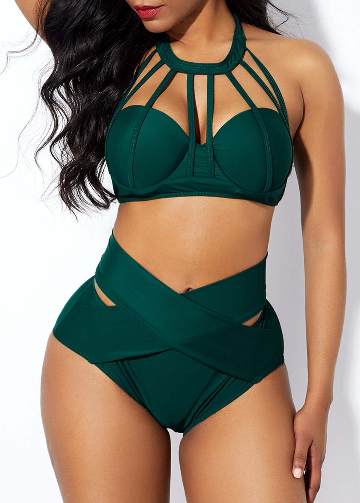 Strappy Neck Cross Front High Waist Bikini Set