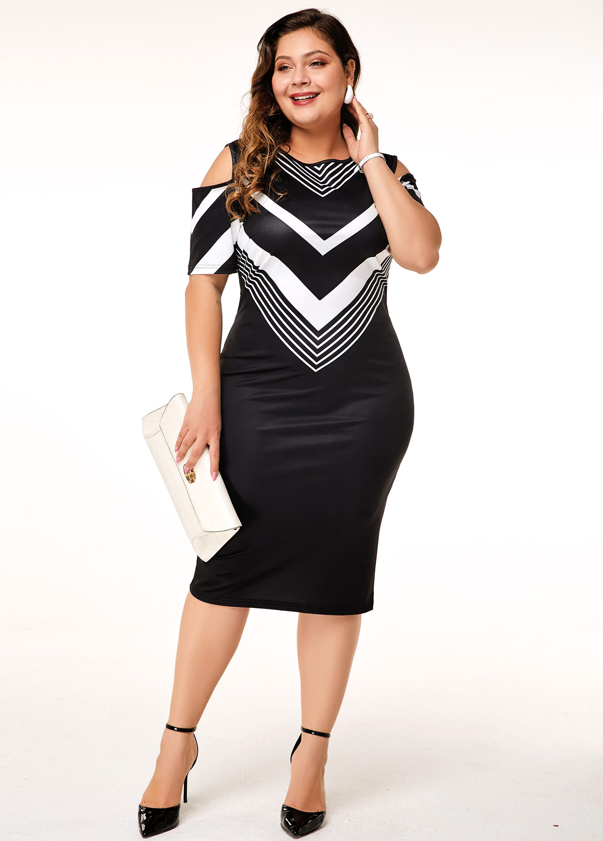 Plus Size Chevron Print Cold Shoulder Dress | modlily.com - USD $31.43