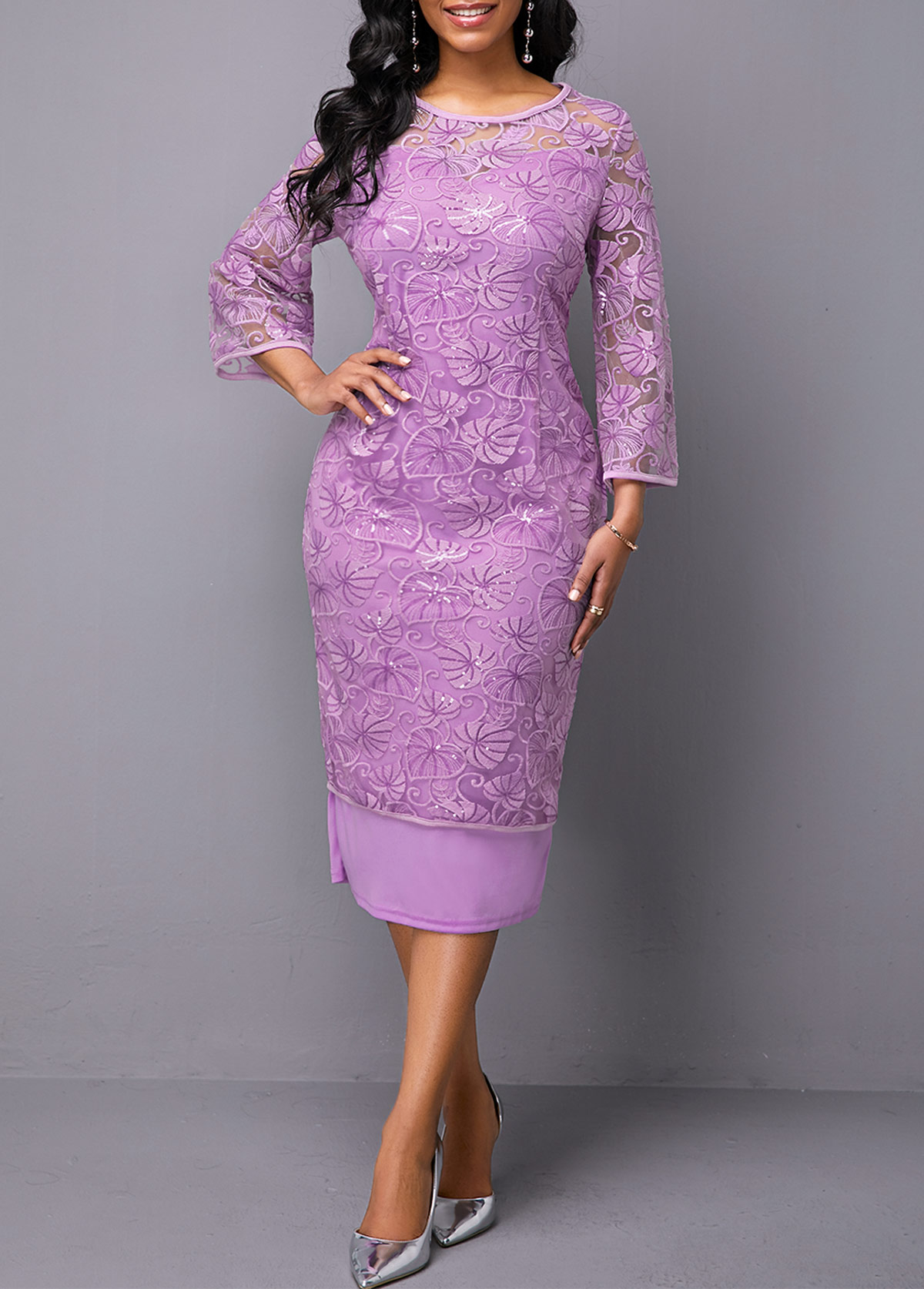 Three Quarter Sleeve Round Neck Purple Lace Dress