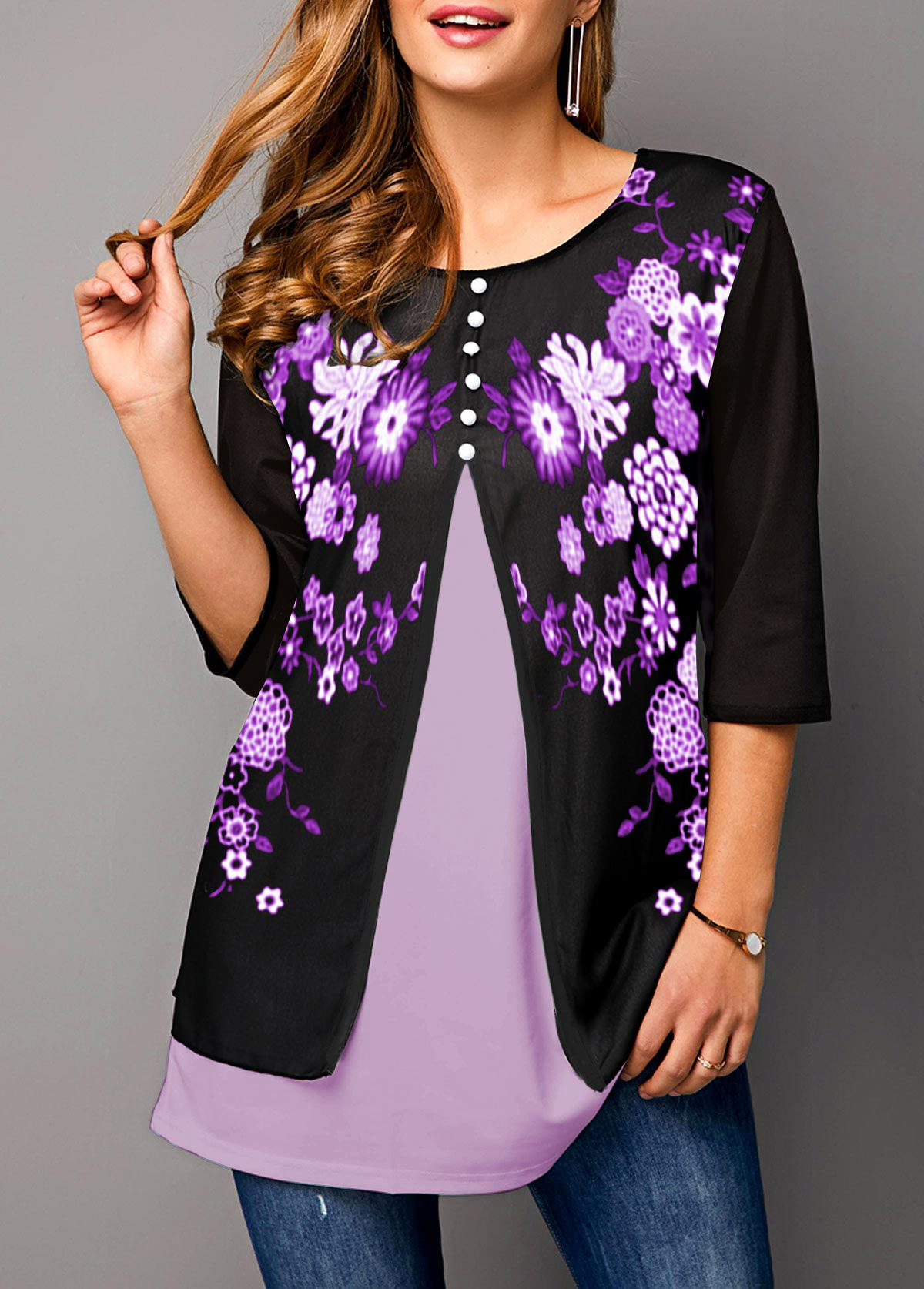 Faux Two Piece Floral Print Button Detail T Shirt