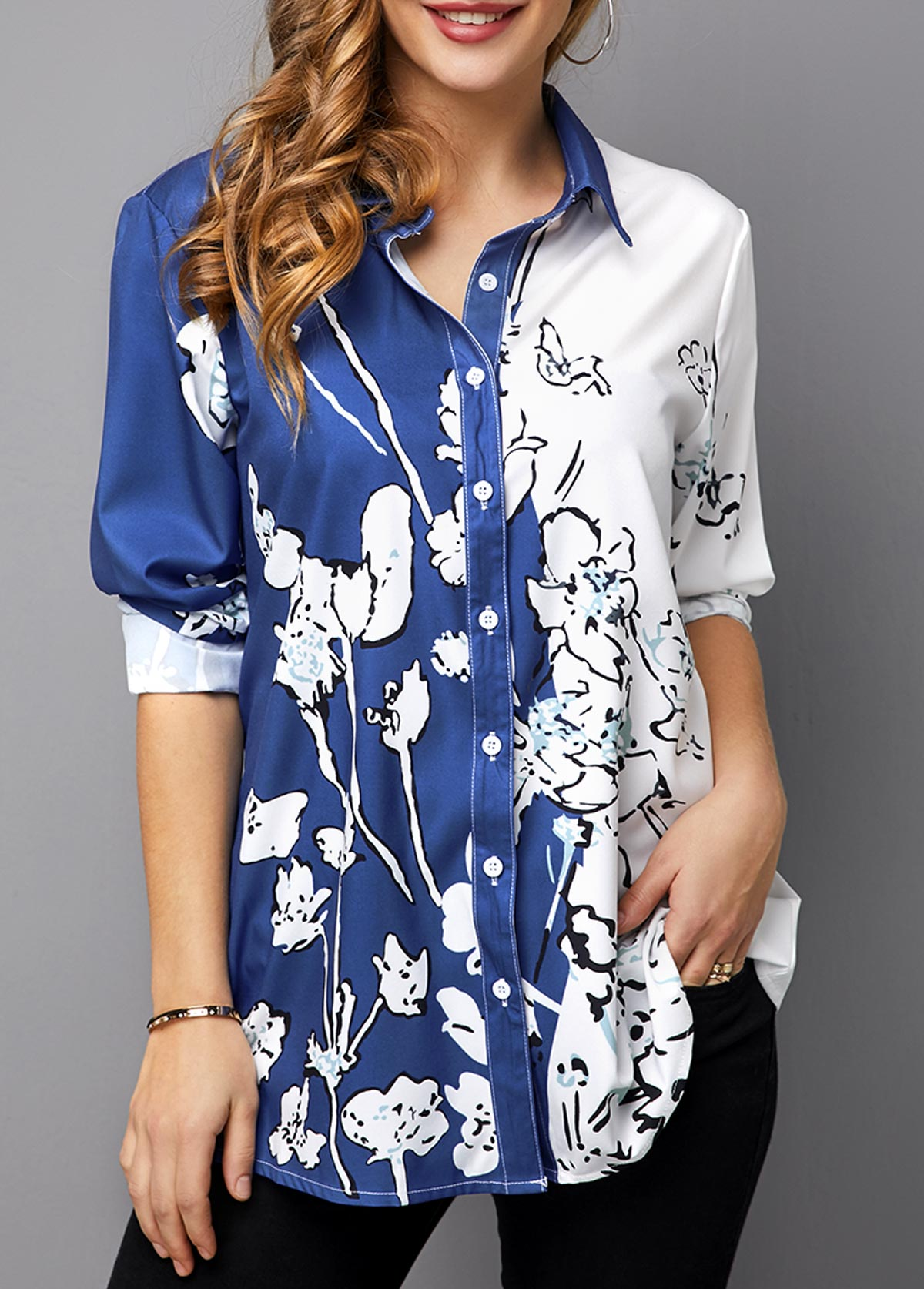 MODLILY DESIGNButton Up Floral Print Turndown Collar Blouse