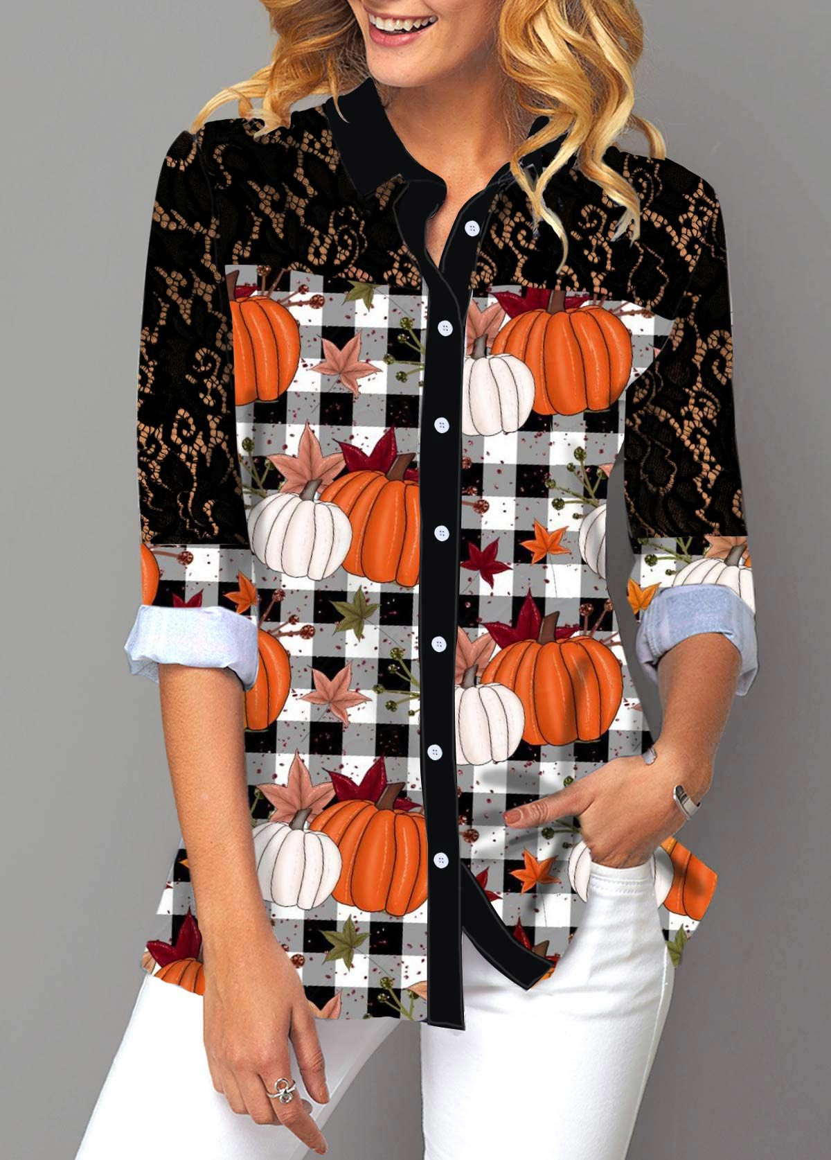 Pumpkin and Plaid Print Button Up Lace Panel Shirt