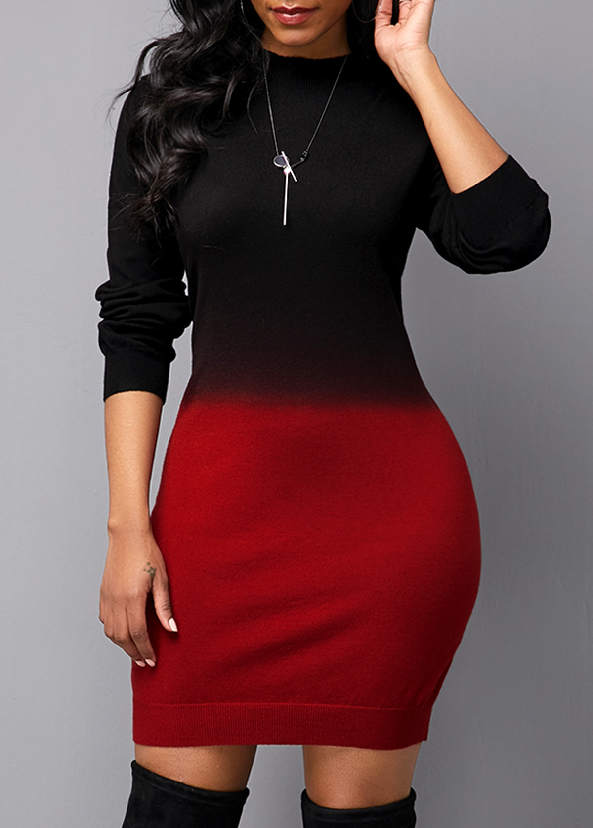 Gradient Long Sleeve Round Neck Sweater Dress