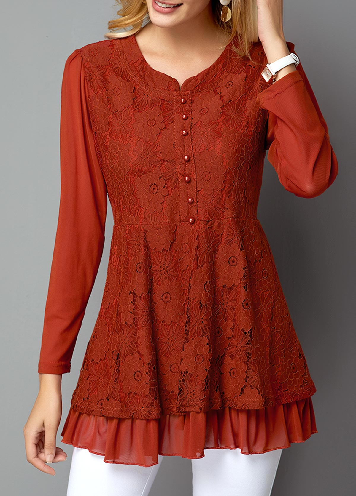 MODLILY DESIGNLong Sleeve Button Front Red Lace T Shirt