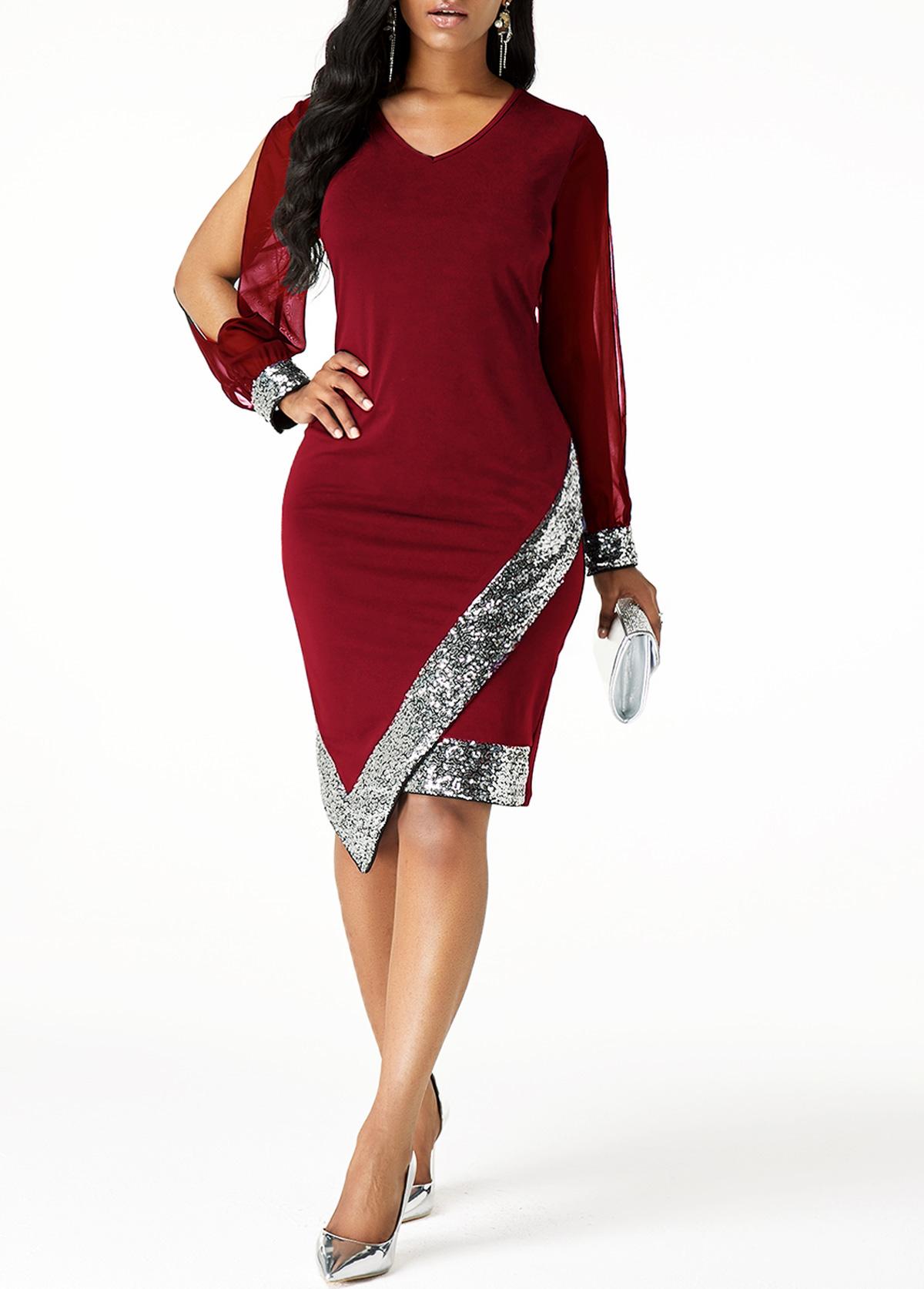 Sequin Panel Cutout Sleeve Asymmetric Hem Sheath Dress