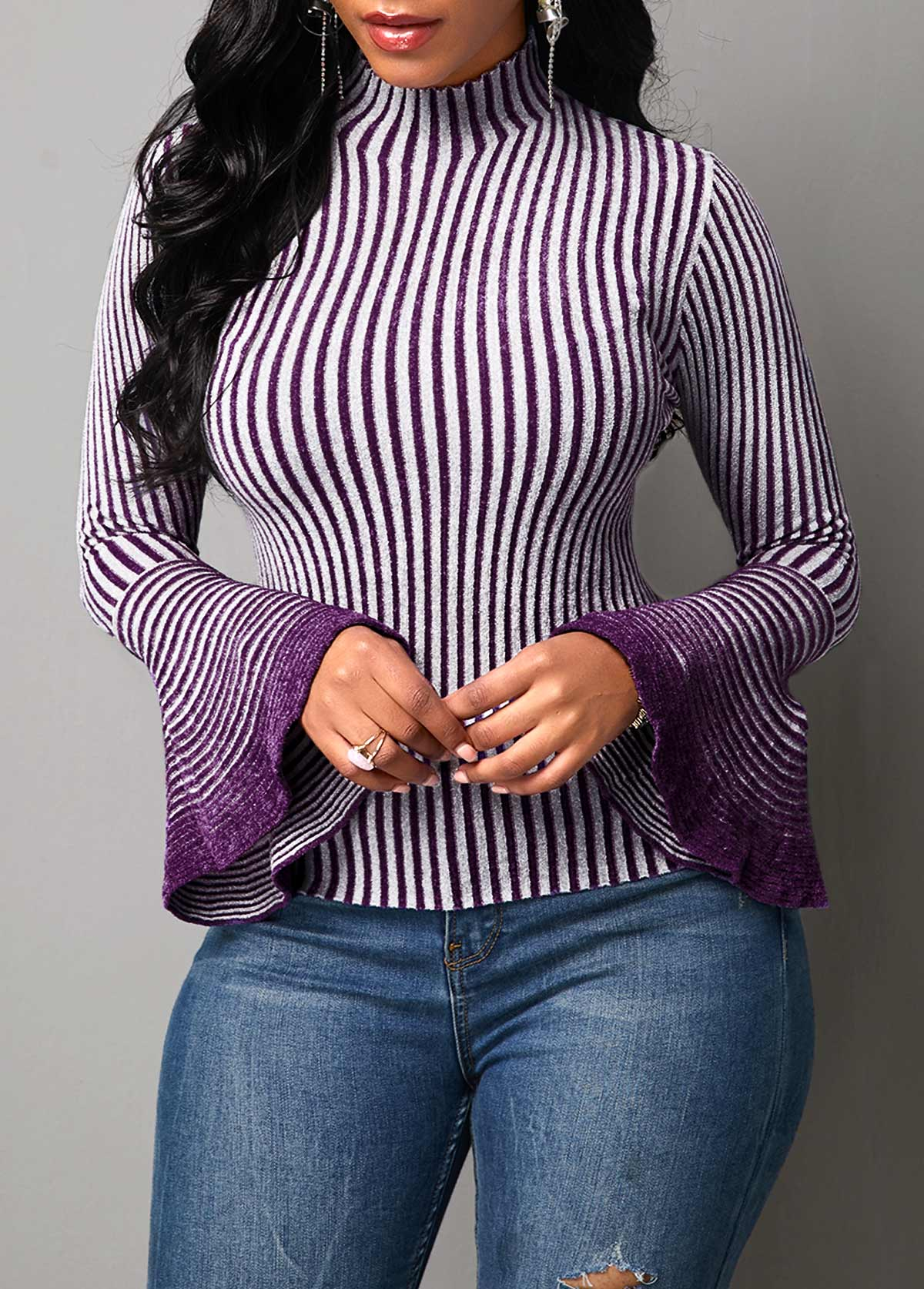 Flare Sleeve Stripe Pattern High Neck Sweater