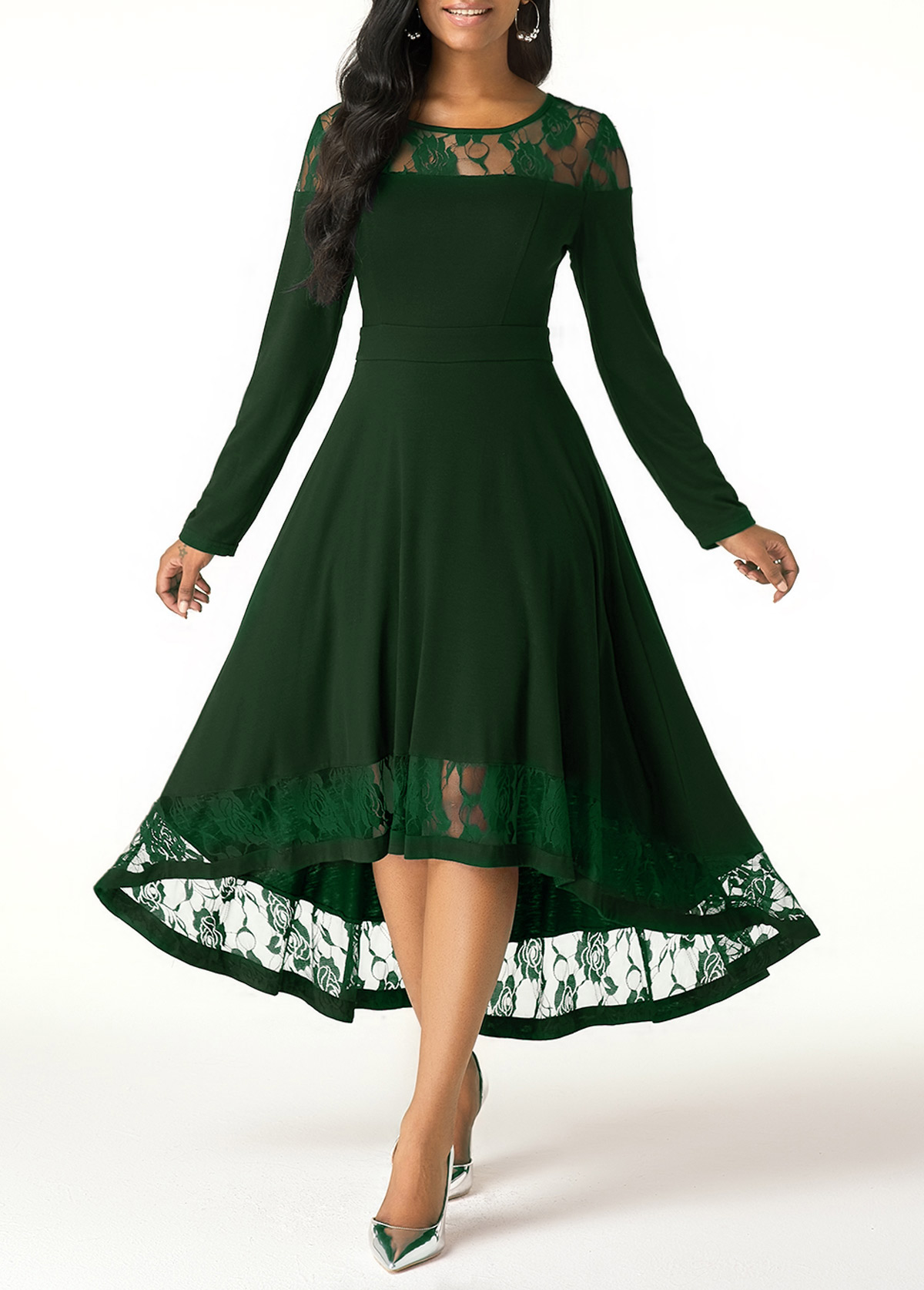 Lace Panel Long Sleeve Green High Low Dress