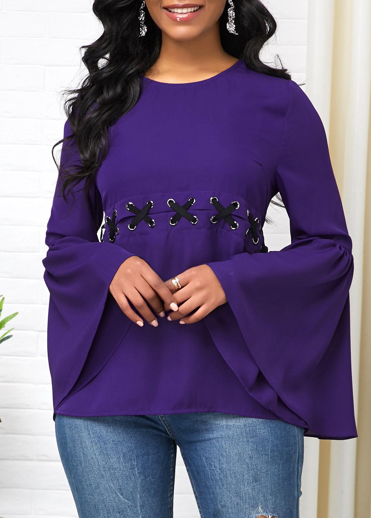 Flare Sleeve Deep Purple Round Neck T Shirt