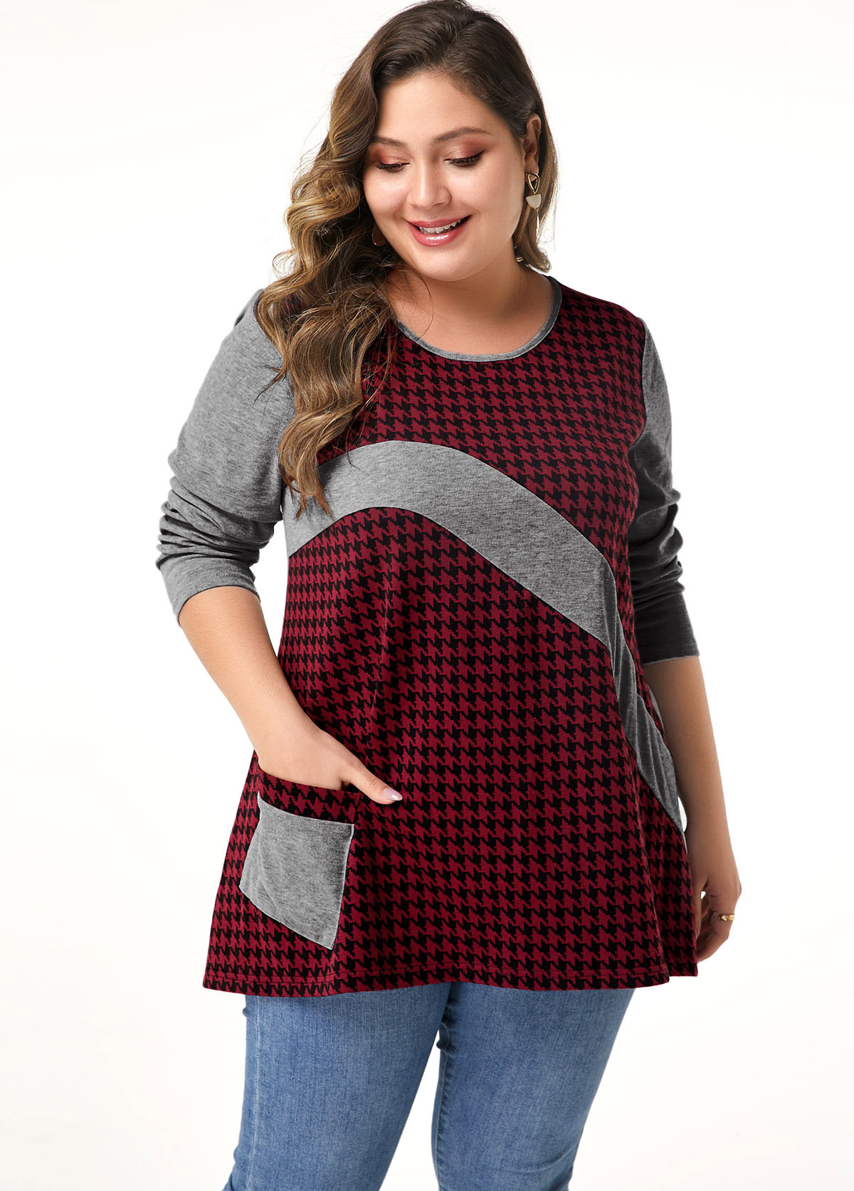 Pocket Long Sleeve Plus Size Blouse