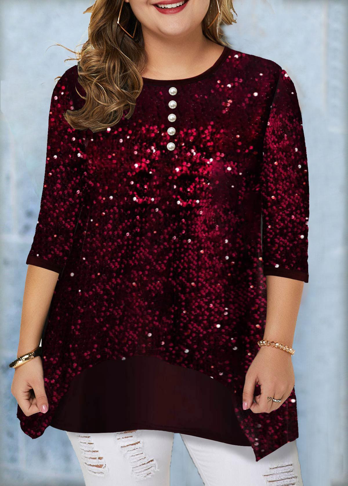 Plus Size Button Detail Sequin Panel T Shirt
