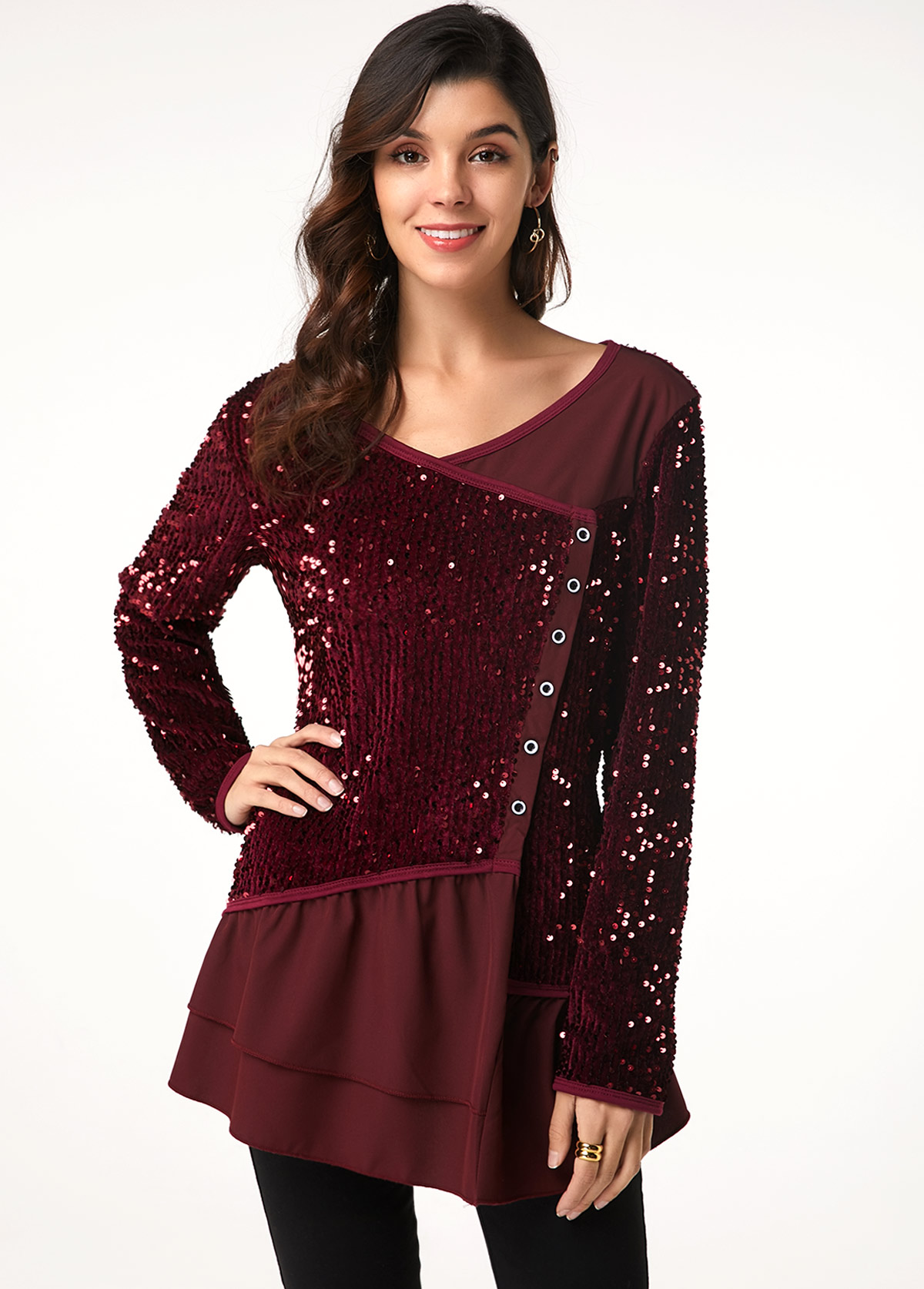 Long Sleeve Sequin Embellished Button Detail T Shirt