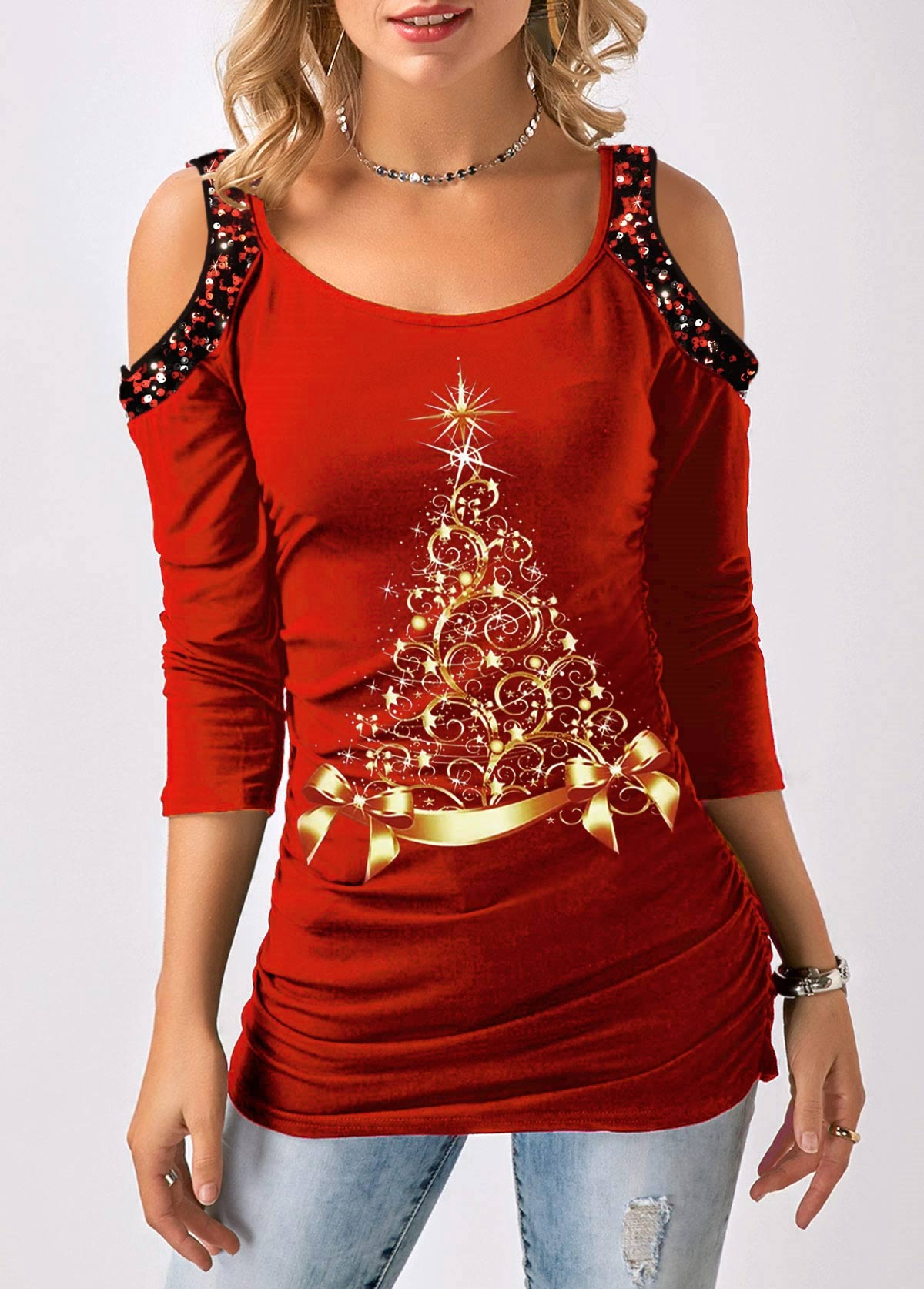 Cold Shoulder Sequin Embellished Long Sleeve T Shirt