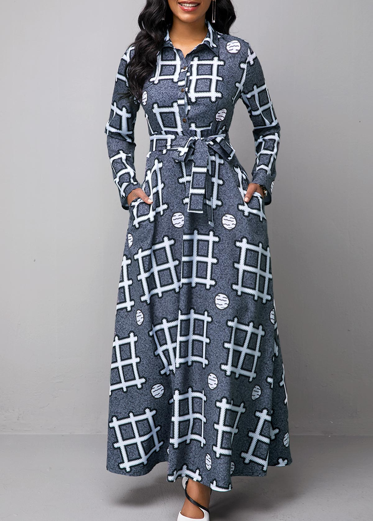 Long Sleeve Turndown Collar Geometric Print Dress