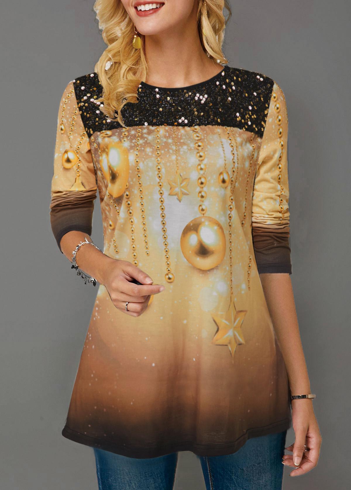 Sequin Panel Christmas Print Gradient T Shirt