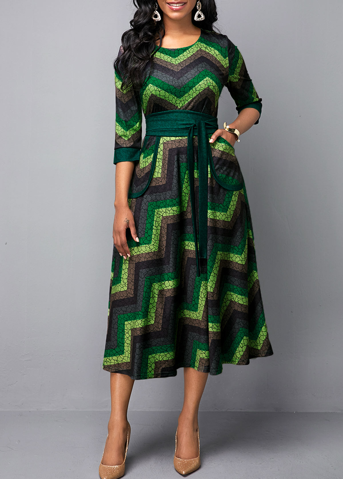Belted Multi Color Round Neck Printed Dress
