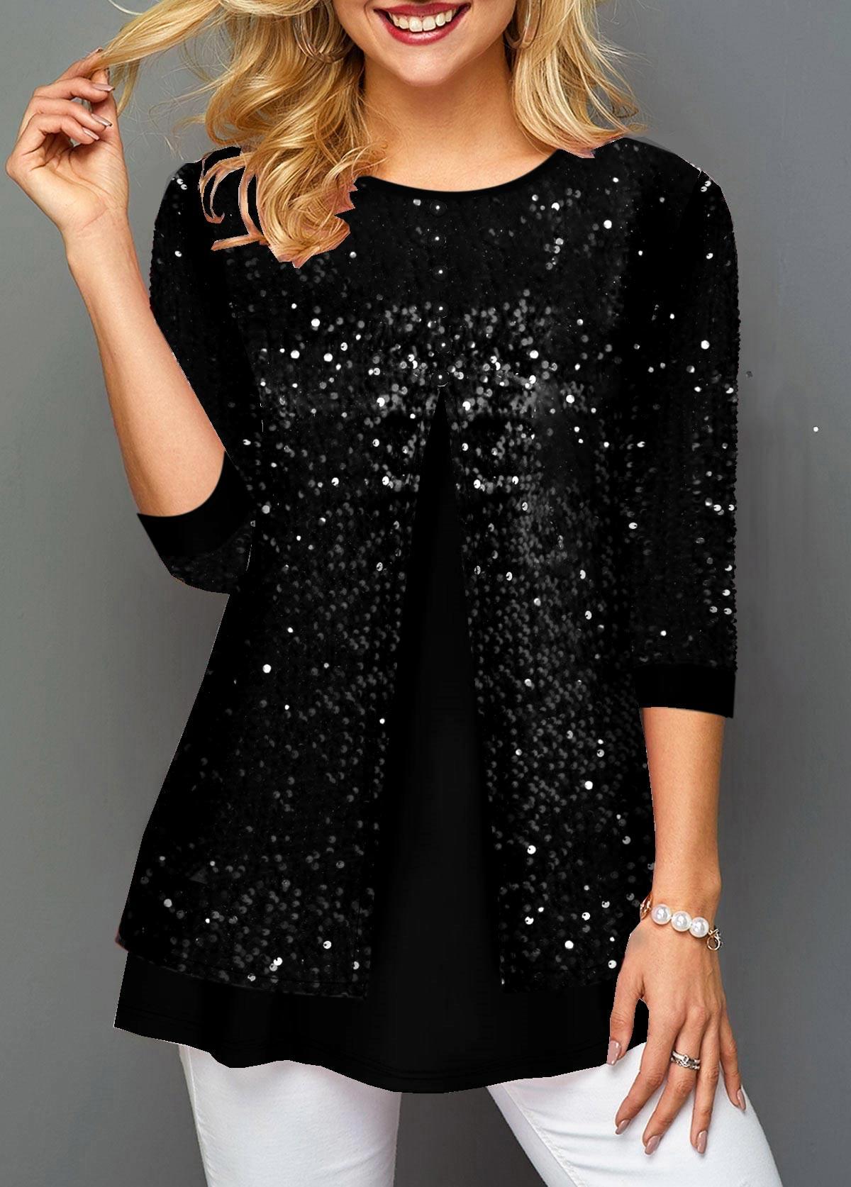 Sequin Detail Faux Two Piece Black T Shirt