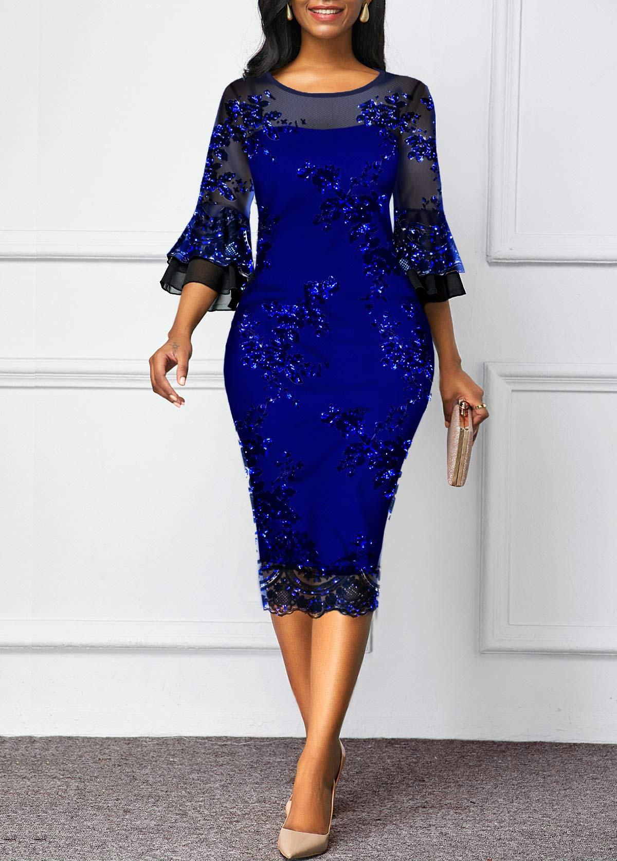 Mesh Panel Flare Sleeve Sequin Detail Sheath Dress
