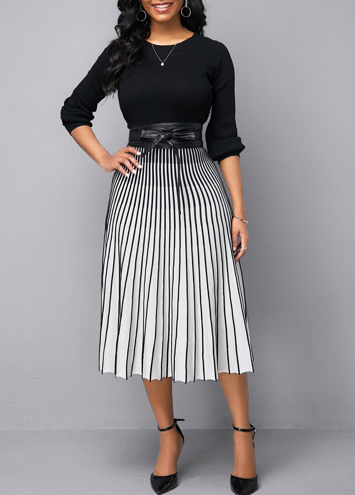 Vertical Striped Round Neck Sweater Dress