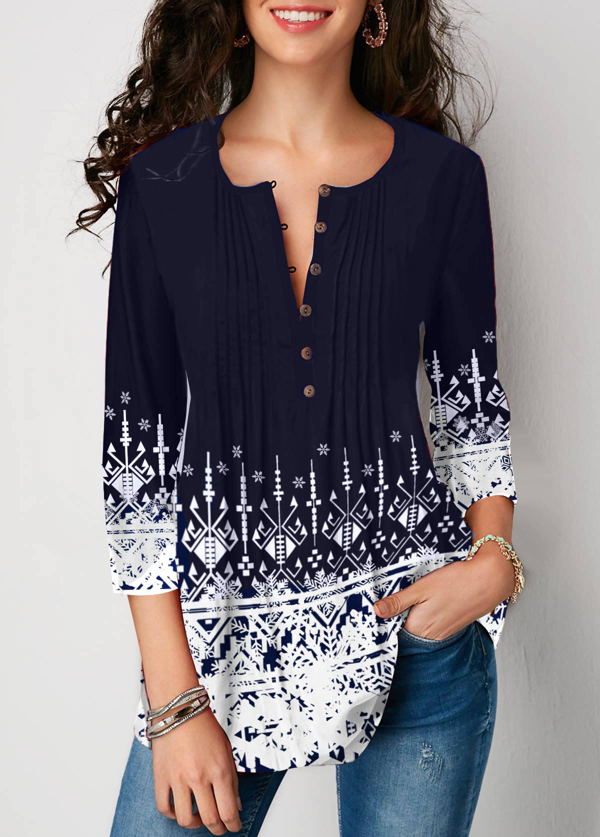 Crinkle Chest Printed Three Quarter Sleeve Blouse