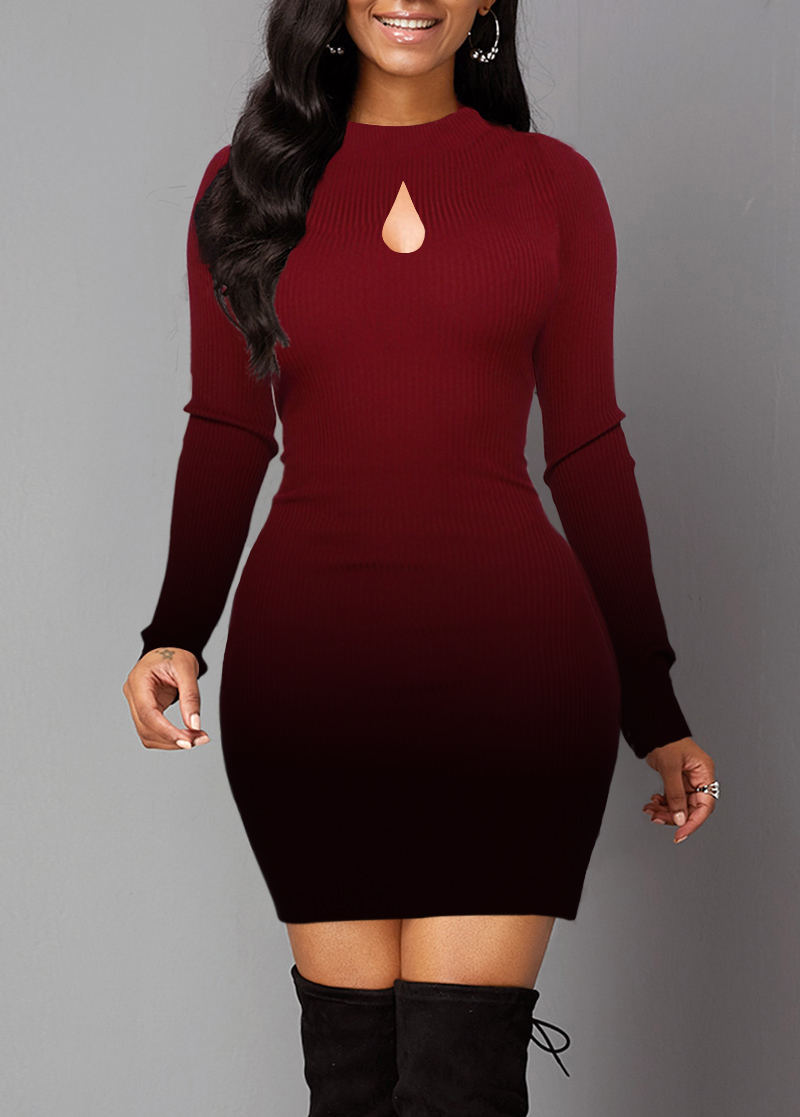 Gradient Lace Panel Long Sleeve Sweater Dress