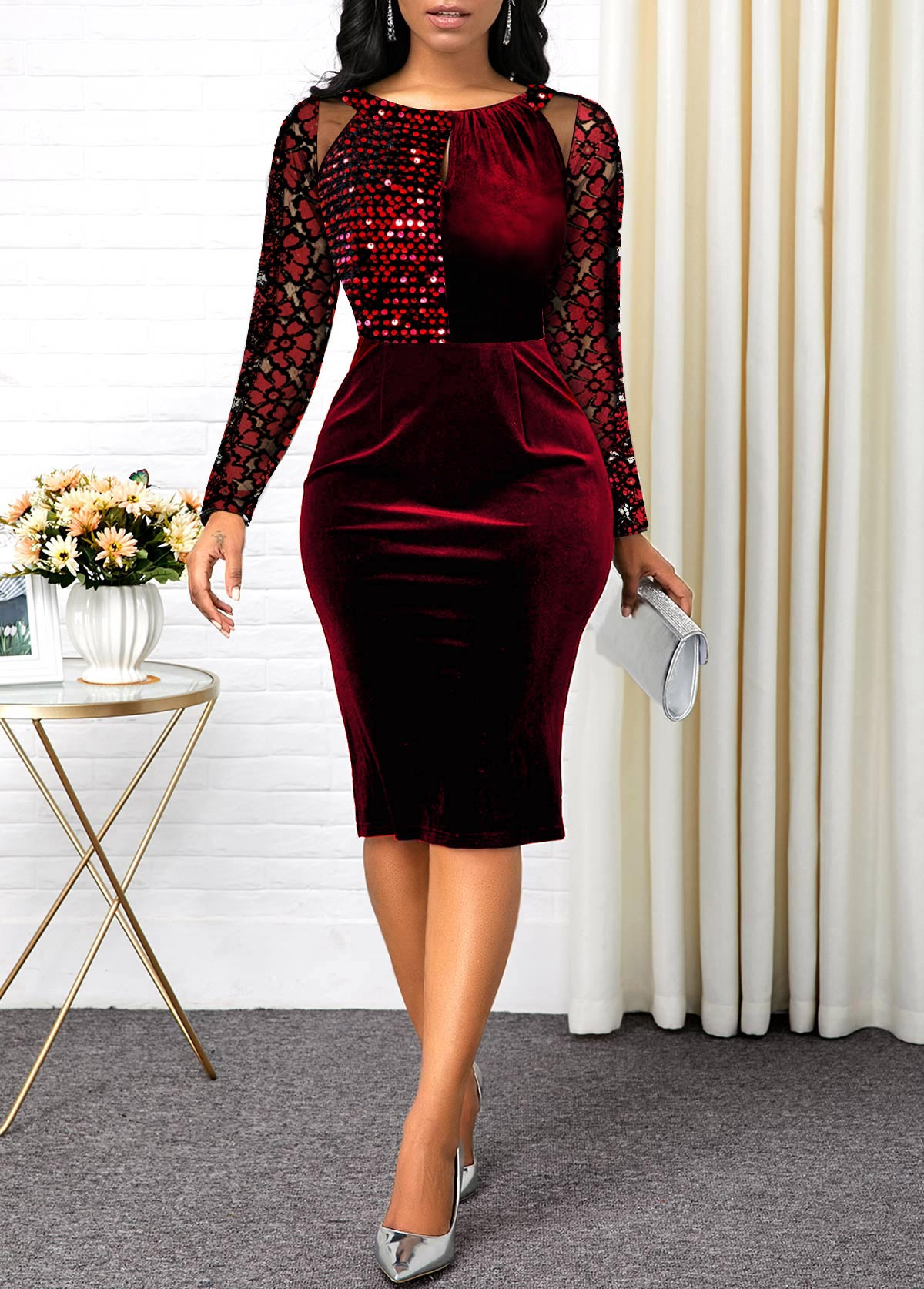 Sequin Detail Lace Sleeve Mesh Panel Velvet Dress