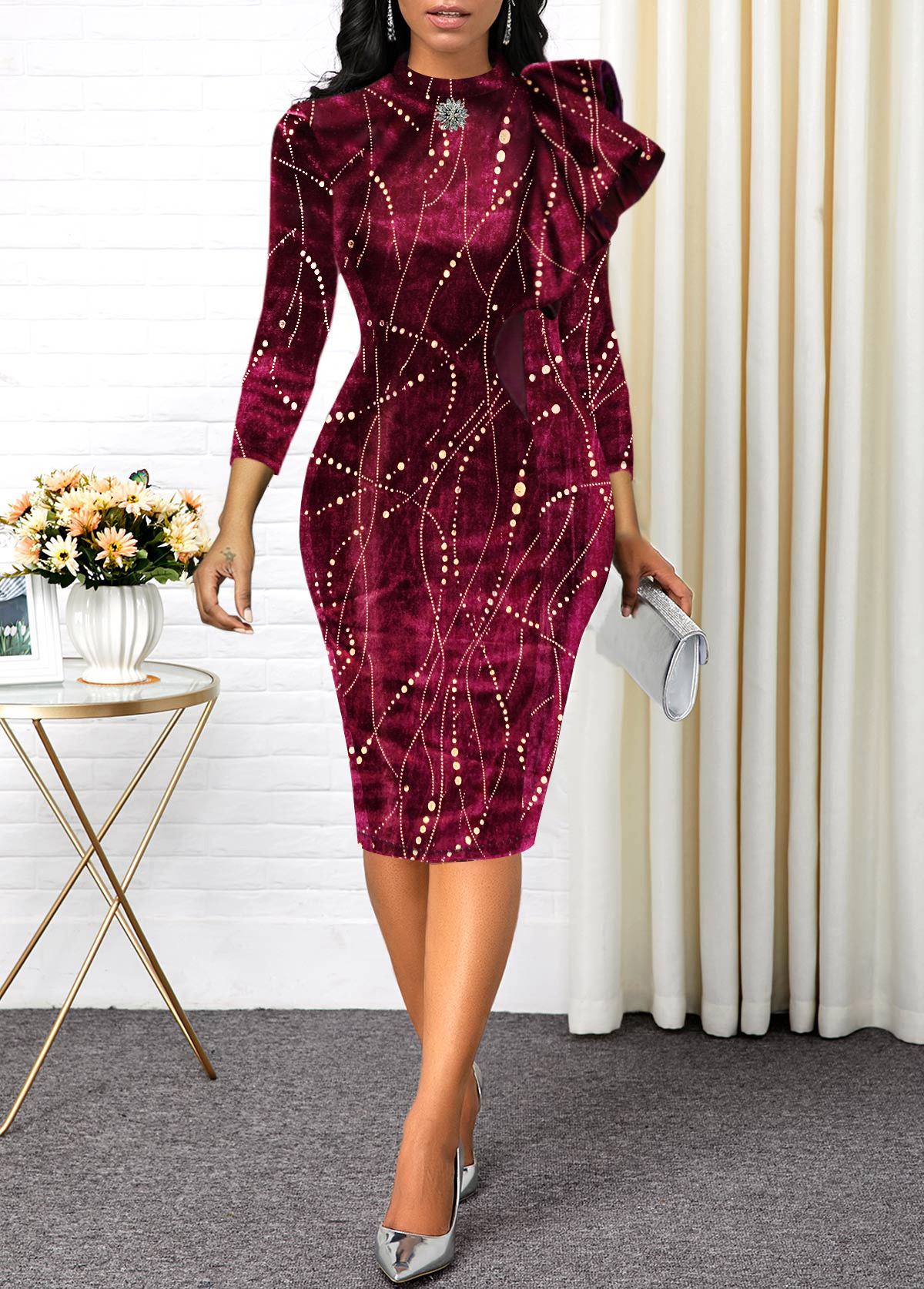 Hot Stamping Three Quarter Sleeve Velvet Dress
