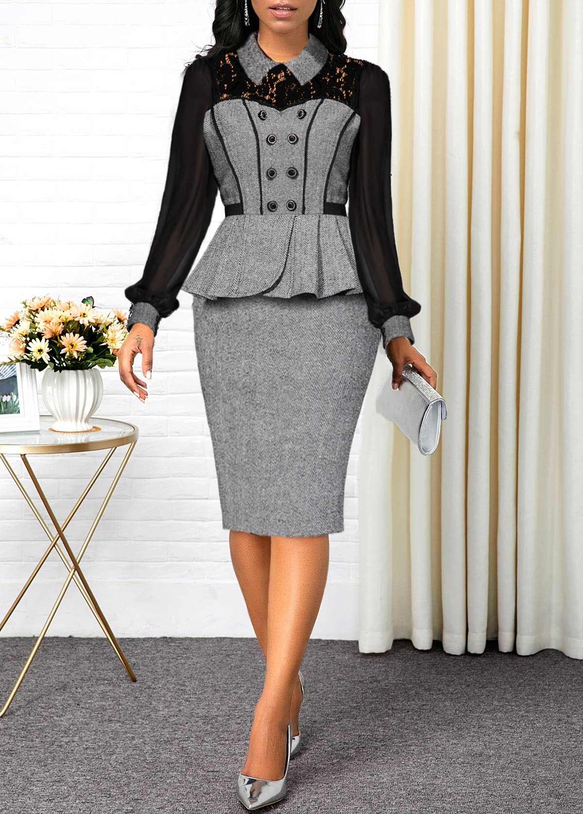 Lace Panel Button Detail Peplum Waist Sheath Dress