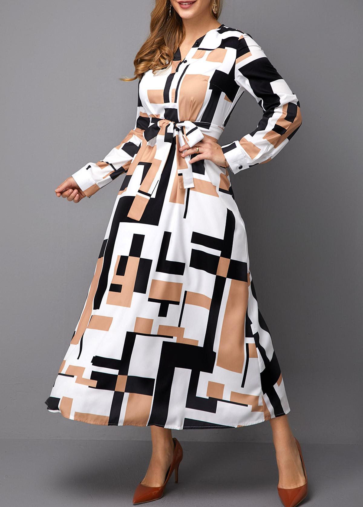 Geometric Print Belted Long Sleeve Maxi Dress