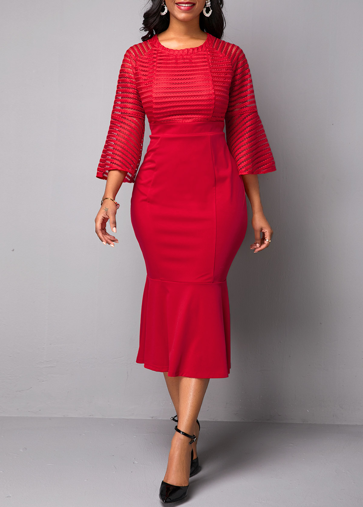 Flare Sleeve Mesh Panel Red Mermaid Dress