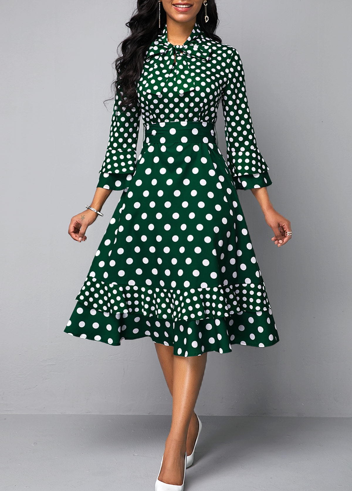 Layered Bell Sleeve Bowknot Detail Dot Print Dress