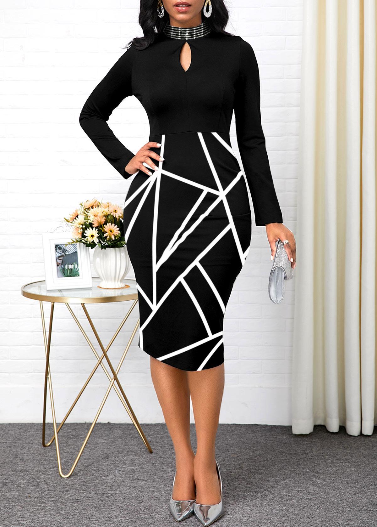 Keyhole Neckline Long Sleeve Geometric Print Dress