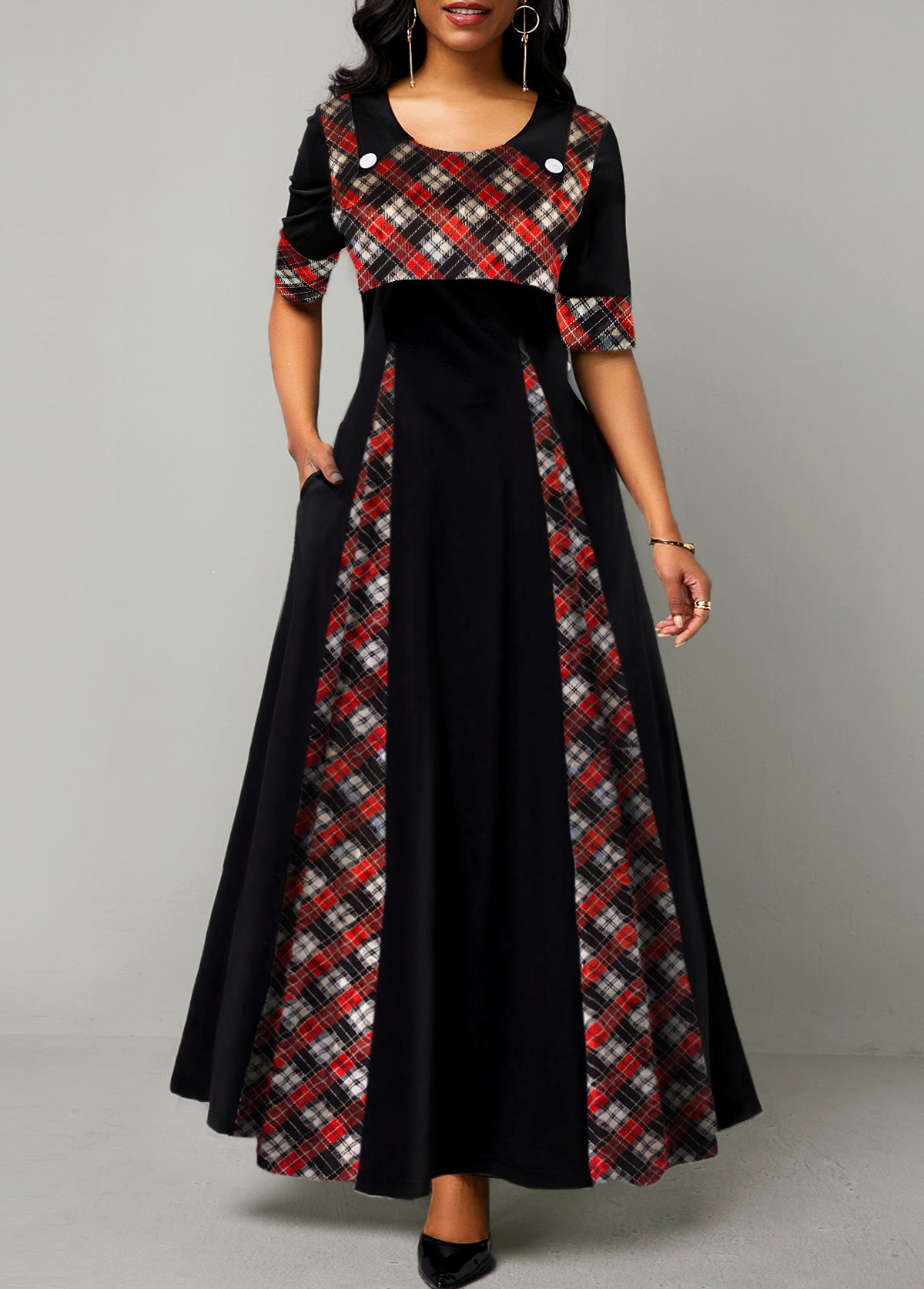 Plaid Print Round Neck Half Sleeve Maxi Dress