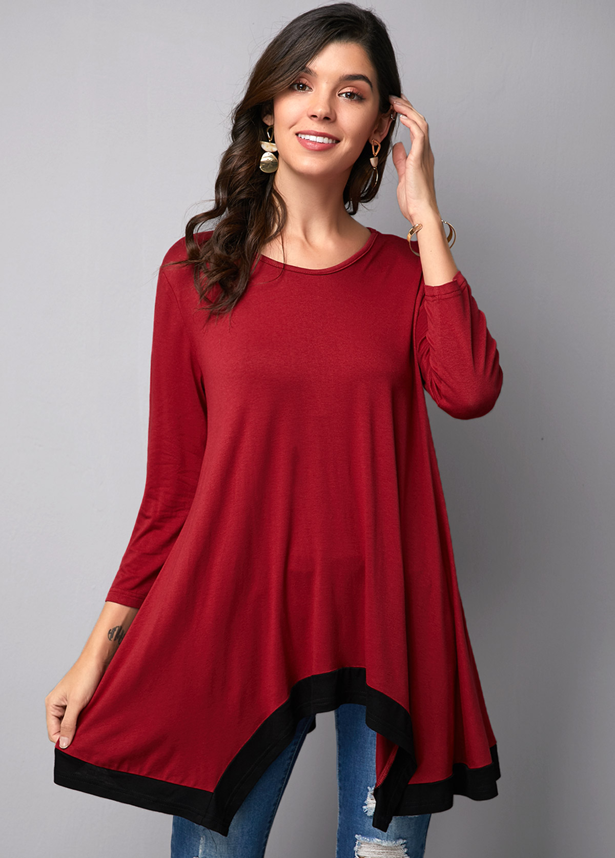 Asymmetric Hem Round Neck Wine Red T Shirt