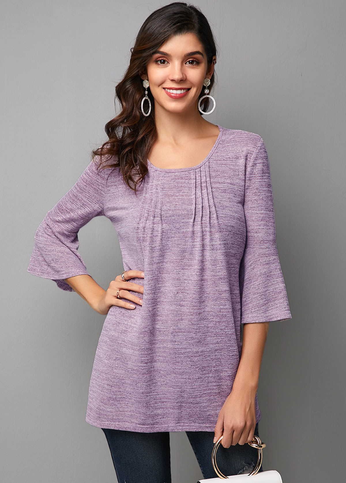 Crinkle Chest Flare Sleeve Round Neck T Shirt