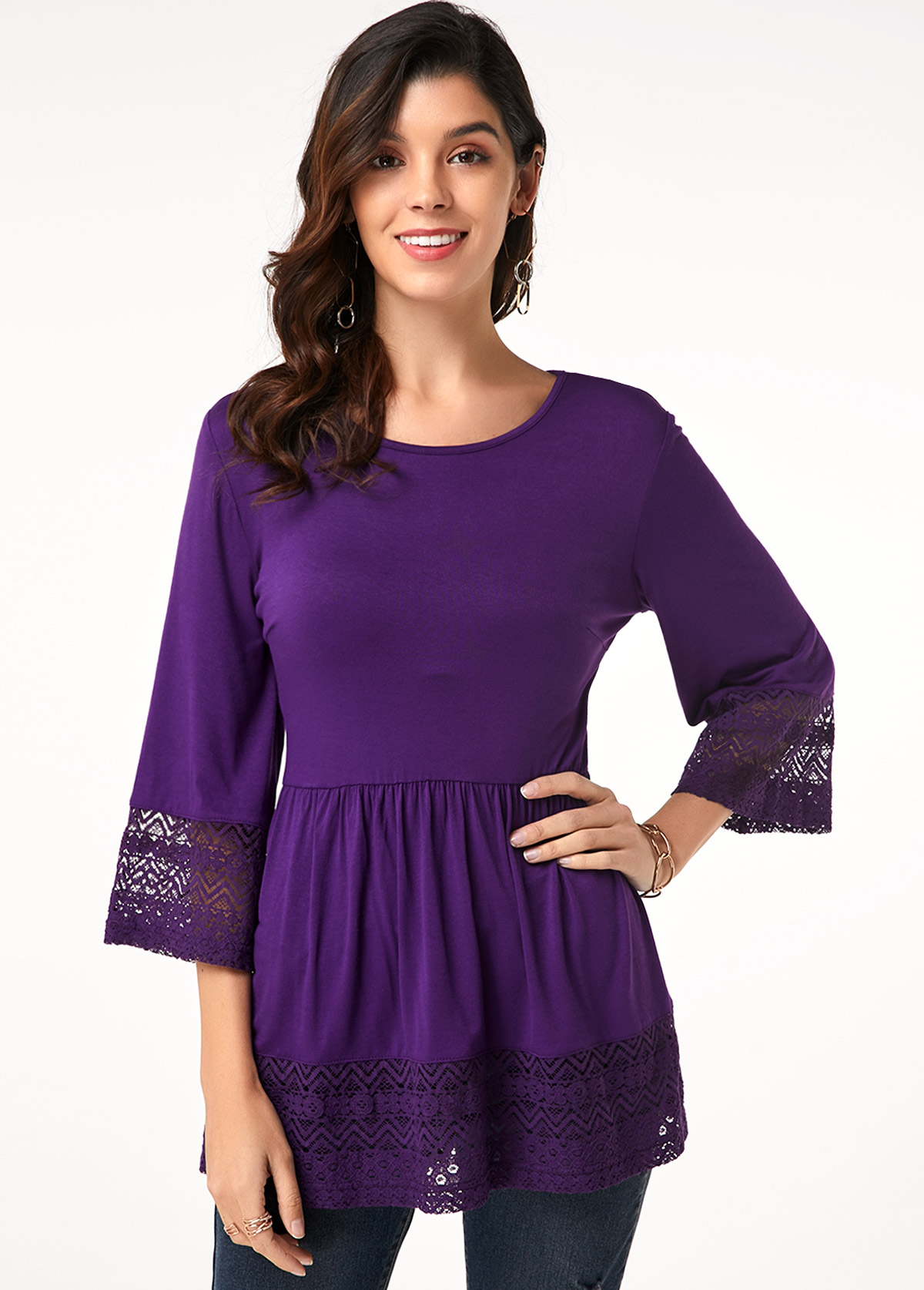 Lacel Panel Flare Sleeve Purple T Shirt
