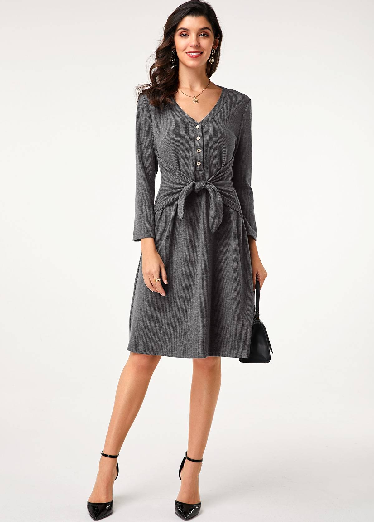 Grey Button Detail Tie Front Dress