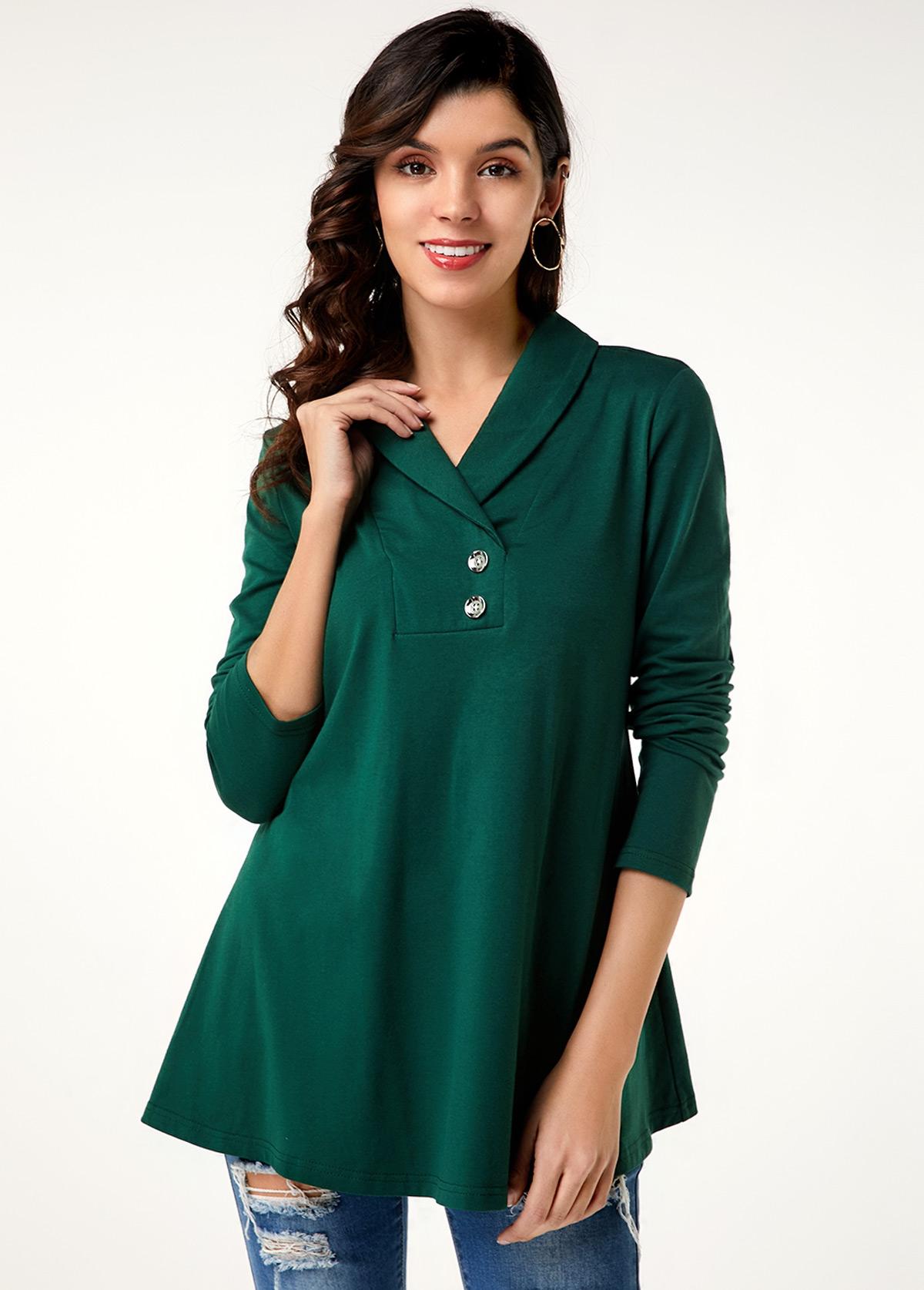 Button Decorated Long Sleeve Dark Green T Shirt